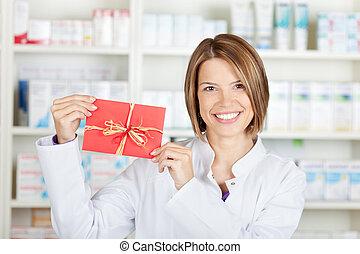 φαρμακοποιός , με , κάρτα
