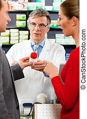 φαρμακοποιός , με , πελάτες , μέσα , φαρμακευτική
