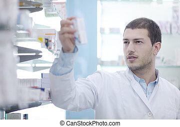 φαρμακοποιός , φαρμακοποιός , άντραs , μέσα , φαρμακευτική , φαρμακείο