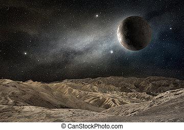 φεγγάρι , επάνω , ένα , άγονος γραφική εξοχική έκταση , μέσα , ένα , αστερόεις , νύκτα