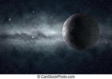 φεγγάρι , και , γαλαξίας , μέσα , ένα , απαστράπτων αστεροειδής κλίμα
