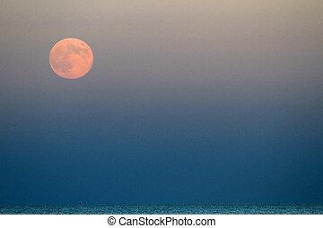 φεγγάρι , μπλε , θάλασσα , επάνω , ανατέλλω , κόκκινο