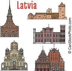 φημισμένος , ιστορικός , αρχιτεκτονική , λατβία , απεικόνιση