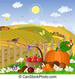 φθινόπωρο , αγροτικός γραφική εξοχική έκταση