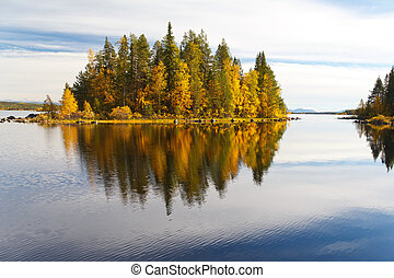 φθινόπωρο , αντανάκλαση , τοπίο , λίμνη