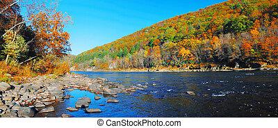 φθινόπωρο , βουνό , ποτάμι , πανόραμα