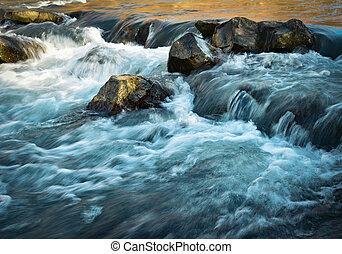 φθινόπωρο , βράδυ , επάνω , ο , ποτάμι