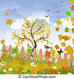 φθινόπωρο γραφική εξοχική έκταση , με , ένα , φράκτηs