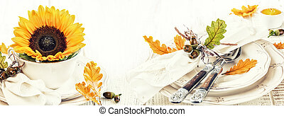 φθινόπωρο , διακόσμηση , δύση , γιορτή , τραπέζι