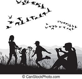 φθινόπωρο , εξοχή , οικογένεια