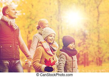 φθινόπωρο , πάρκο , οικογένεια , ευτυχισμένος