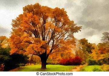 φθινόπωρο , πάρκο της πόλης