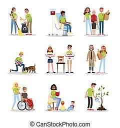 φιλανθρωπία , εθελοντής , set., βοήθεια , άνθρωποι , συλλογή