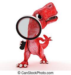 φιλικά , γελοιογραφία , δεινόσαυρος , με , μεγεθυντικός φακός