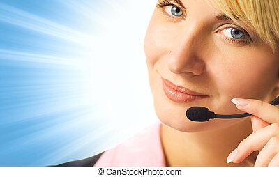 φιλικά , τηλέφωνο εγχειρητής , επάνω , μπλε , αφαιρώ , φόντο...