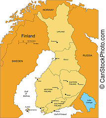 φινλανδία , με , διοικητικός , περιοχές , και , περιβάλλων ,...