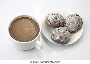 φλιτζάνι του καφέ , μαύρο φόντο , άσπρο , μπισκότο