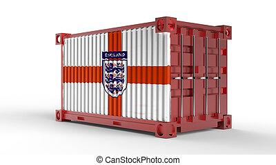 φορτίο , αγγλία , αποστολή , απόδοση , σημαία , δοχείο , 3d