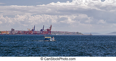 φορτίο , λιμάνι , φόρτωση , δοχείο , θάλασσα , γερανός , terminal., εξάγω , αγαιρώ γέμισμα , logistic , εισάγω , δοχείο