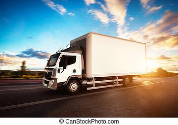 φορτίο , οδήγηση , εμπορικός , highway., απελευθέρωση ανοικτή φορτάμαξα , κενό , άσπρο , καραβάνι