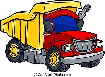 φορτηγό , γελοιογραφία , σκουπιδότοπος
