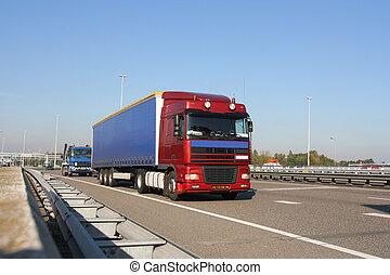 φορτηγό , επάνω , ο , αυτοκινητόδρομος