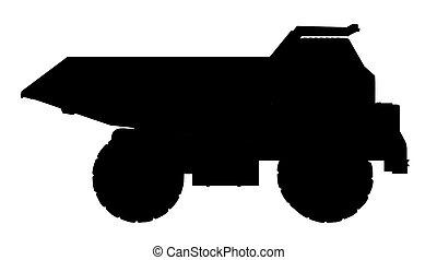φορτηγό , περίγραμμα , σκουπιδότοπος