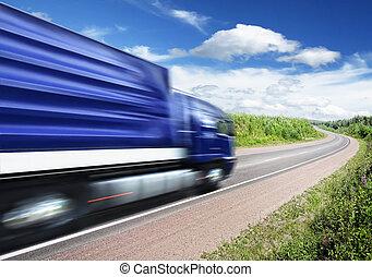 φορτηγό , τρέχει με ταχύτητα , επάνω , άκρη γηπέδου δημοσιά , αίτημα αμαυρώνω