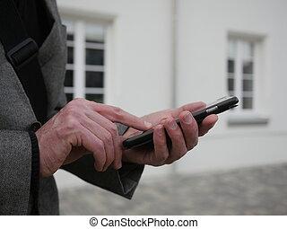φράζω , από , ένα , άντραs , χρησιμοποιώνταs , κινητός , κομψός , τηλέφωνο