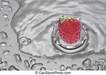 φράουλα , αλίσκομαι , εντός , νερό