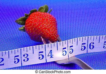φράουλα , επάνω , ένα , πηρούνι