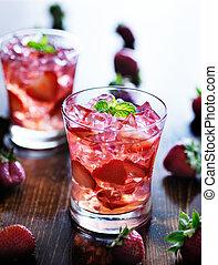φράουλα , μέντα , κοκτέηλ , πάγοs