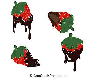 φράουλα , στάξιμο , με , είδος τυρόπητας , cho