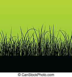 φρέσκος , γρασίδι , τοπίο , λεπτομερής , περίγραμμα , εικόνα , φόντο , μικροβιοφορέας , για , αφίσα
