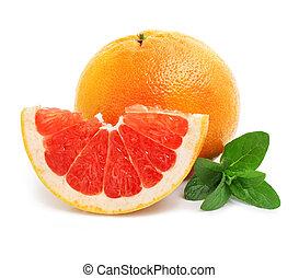 φρέσκος , κίτρο , φρούτο , με , κόβω , και , αγίνωτος φύλλο