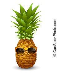 φρέσκος , ώριμος , ανανάς , μέσα , γυαλλιά ηλίου