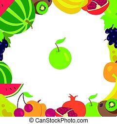 φρούτο , κορνίζα , επάνω , ένα , αγαθός φόντο