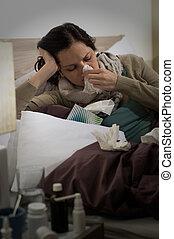 φταρνίζομαι , γυναίκα , γρίπη , αηδιασμένος κρεβάτι