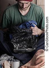 φτωχός , τσάντα , άντραs , σκουπίδια , χέρι