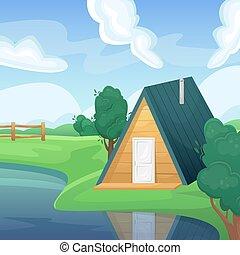 φυσικός , αγροκαλλιέργεια. , καλοκαίρι , λίμνη , πεδίο , τοπίο , πράσινο , γραφική εξοχική έκταση. , εξοχή , fields., house., γεωργία , γεωργικός