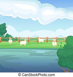 φυσικός , αγροκαλλιέργεια. , λίμνη , πεδίο , τοπίο , πράσινο , sheeps., γραφική εξοχική έκταση. , fields., καλοκαίρι , γεωργία , γεωργικός