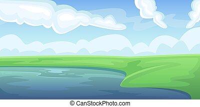 φυσικός , αγροκαλλιέργεια. , lake., πεδίο , τοπίο , πράσινο , γραφική εξοχική έκταση. , fields., καλοκαίρι , γεωργία , γεωργικός