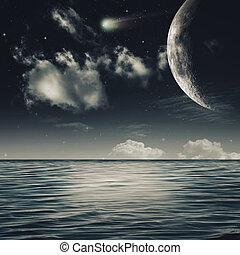 φυσικός , αστερόεις , αφαιρώ , νύκτα , θάλασσα , τοπίο