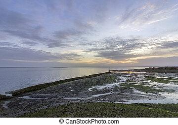 φυσικός , είσοδος , θαλασσογραφία , olhao , park., βάλτος , προκυμαία , ηλιοβασίλεμα , algarve., αλάτι , formosa , ria