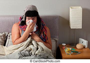 φυσώ , κρεβάτι , άρρωστος , nose., κρύο , κειμένος , άντραs