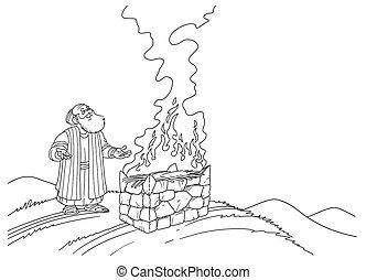 φωτιά , βωμός , ακουμπώ , νώε