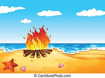 φωτιά κατασκήνωσης , παραλία