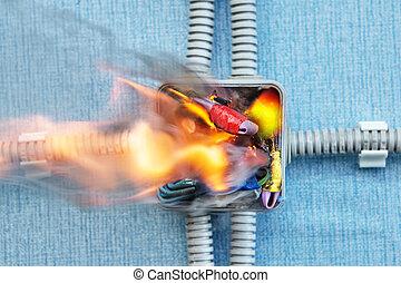 φωτιά , οφειλόμενος , νοικοκυριό , circuit., κοντός , ηλεκτρικός