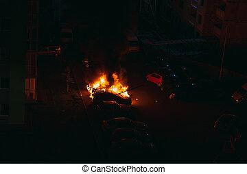 φωτιά , πρλθ. του catch , πάρκινγκ , αυτοκίνητο , fire., lot.
