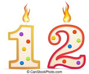 φωτιά , σχηματισμένος , επέτειος , άσπρο , 12 , αριθμόs , δώδεκα , κερί , χρόνια , γενέθλια